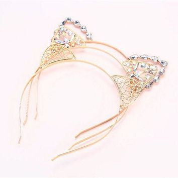 VONG2W Fashion Sweet Lovely Women  Girl Hair Hoops Cat Ear Hairband Crown Tiara headband Rhinestone Princess Hollow Hair Jewelry