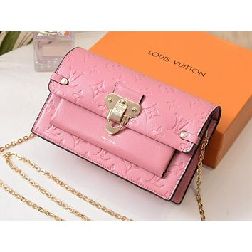 LV Hot Selling Lady's Color Shopping Bag Printed Single Shoulder Bag Pink
