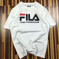 FILA Gosha Rubchin Skiy  Fashion Print Casual Short Sleeve Shirt Top Tee Blouse G-A-XYCL