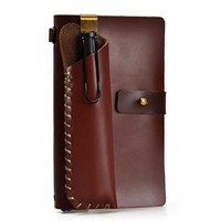 Handmade Refillable Leather Travelers Journals Pencil Case Set of Two (Brown)