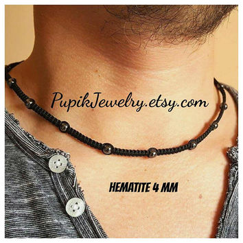 MEN'S CHOKER NECKLACE Hematite Necklace Shamballa Necklace Men's Jewelry Shamballa Beaded Necklace 6 mm Beaded Shambala Choker Shamballa