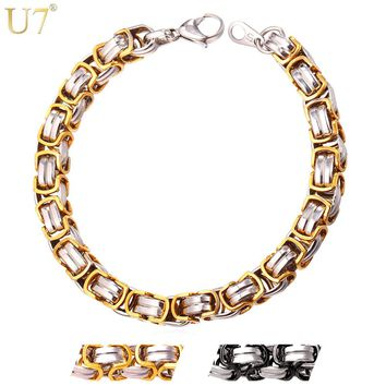 U7 Two-Tone Gold Color Mens Chain Byzantine Bracelet&Bangle Hiphop Stainless Steel 9MM Biker Bracelet Motorcycle Jewelry H699