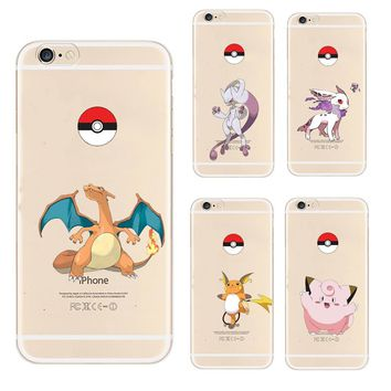 Hot mobile game s Go Pokeball Cute Animal Elves Case For Apple iphone 5 5S SE Soft TPU Silicone Back Cover Phone CoqueKawaii Pokemon go  AT_89_9