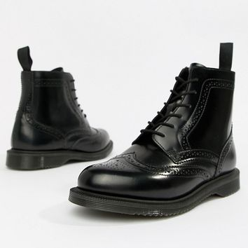 Dr Martens Delphine Brogue Black Leather Lace Up Flat Ankle Boots at asos.com