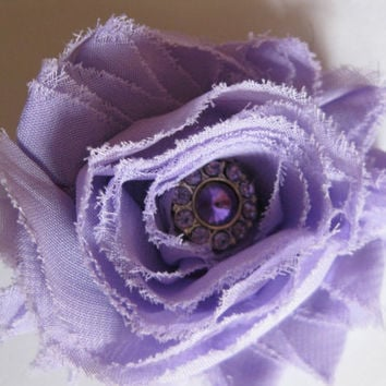 Womens or girls purple shabby chic flower with light purple rhinestone center, flower girl lilac accessories, toddler frayed lavender flower