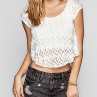 Full Tilt Womens Lace Swing Crop Top White  In Sizes