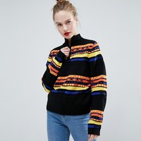 ASOS Jumper with High Neck in Graphic Pattern at asos.com