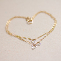 Petite sterling silver hearts layered gold filled chain bracelet - delicate modern jewelry by AmiesAmies