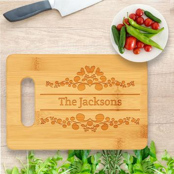 Personalized Cutting Board, Wedding Gift, Family Last Name Laser engraved