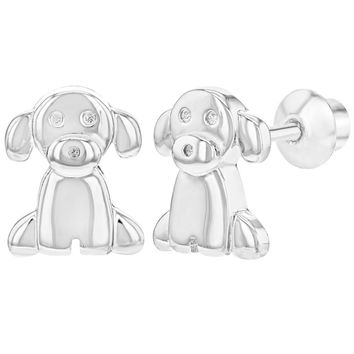 925 Sterling Silver Puppy Dog Pet Small Animal Earrings Screw Back Girls