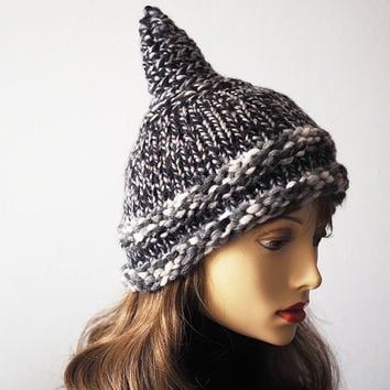 Black & white hat , Ready to ship , Fashion knit hat , Gray tweed hat , Elf hat , Womans chunky knit hat , Warm winter hat , Teen girl hat