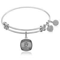 Expandable Bangle in White Tone Brass with U.S. Marines Proud Sister Symbol