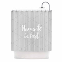 "KESS Original ""Namaste In Bed Grey"" White Gray Shower Curtain"