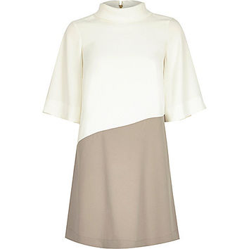 Cream roll neck swing dress - swing dresses - dresses - women
