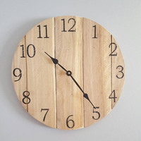 Rustic Clock- Number Clock- Reclaimed Wood Clock- Pallet Clock- Farmhouse Clock-Wood Clock- Wall Clock- Small Round Clock