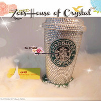 Stylish BLING Crystallized STARBUCKS Ceramic Mug / Cup