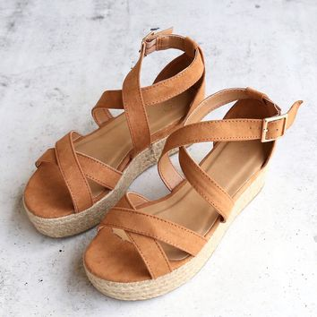 Criss Cross Strappy Two Band Espadrilles Platform Sandal with Ankle Strap - Tan Suede