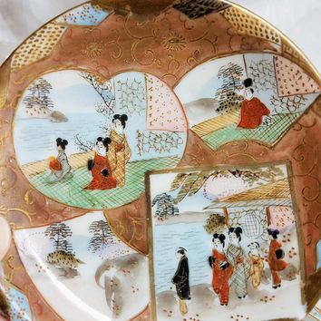 Antique Japanese Hand Painted Eggshell Tea cup and saucers Set of 3 Antique Japanese Satsuma Geisha Tea Set, Copper Tea set demitasse signed