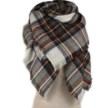 Plaid Blanket Scarf-brown/blue/cream