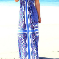 Blue Strapless Printed Chiffon Dress