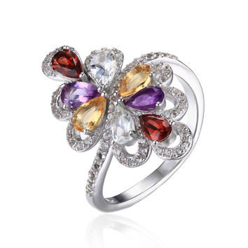 Silver 1.8ct Natrual Amethyst Garnet Citrine Green Amethyst Cocktail Ring