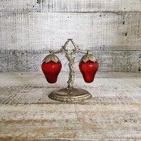 Salt and Pepper Shakers Glass Strawberry Salt and Pepper Shakers Hanging on a Vine Stand Dangling Strawberries on a Branch 3 Piece Set