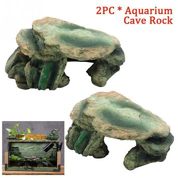 2pcs Resin Landscape Lizard Turtle Cricket Amphibians Decorative Office crickets Fish Tank Aquarium Cave Rock
