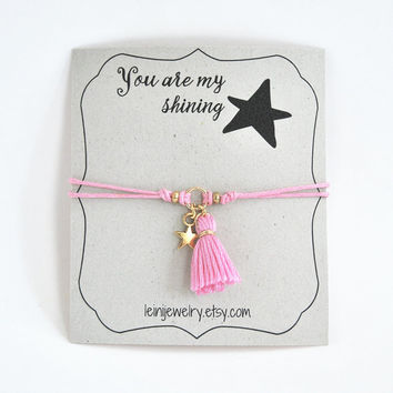 Star bracelet, wish bracelet with tassel charm and star, gift for her, friendship bracelet, pink cord bracelet, gift for friend