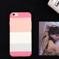 Fashion pink stripe phone case for iPhone 7 7plus 6 6S 6plus 6Splus 1109J01