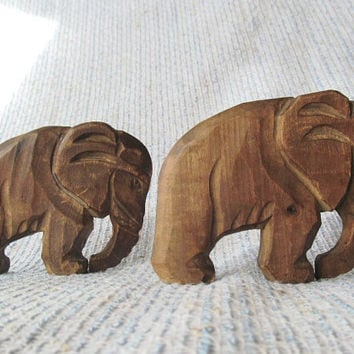 Vintage Carved Wood Wooden Elephants African Elephant Figurine Set of 2