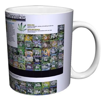 Periodic Table of Cannabis (Weed Marijuana Table) Novelty Drug Smoking Humor Porcelain Gift Coffee (Tea, Cocoa) 11 Oz. Mug
