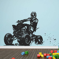ATV Rider Wall Decal, 4 Wheeler Off Road Wall Sticker, Quad Wall Decal Decor, 4 Wheeler Kids Bedroom Wall Decor Art, ATV Room Mural se170