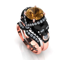 Skull Engagement Ring Center 2 CT Chocolate Moissanite Diamond