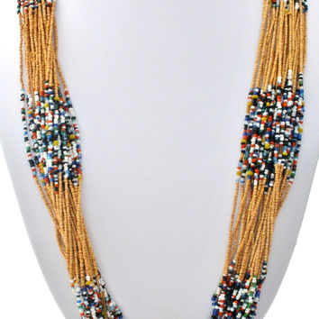 Boho Multi Strand Glass & Wood Bead Necklace