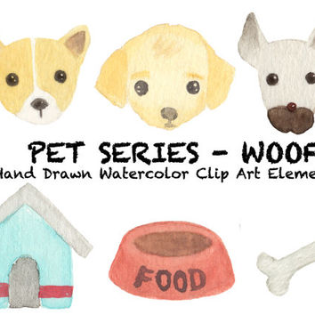 Woof! Watercolor Clip Arts for Scrapbooking Digital Files