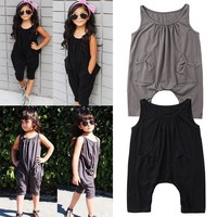 Hot Toddler Kids Girls Sleeveless Pocket Romper Jumpsuit Playsuit Outfit Clothes