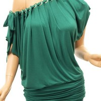 Patty Women Sexy On/One Shoulder Ruched Diamante O-ring Collar Top (Green S)