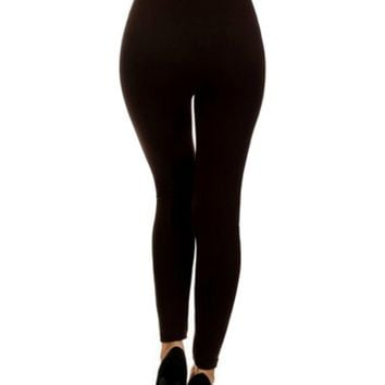 Fleece Tummy Control Legging, Dark Brown