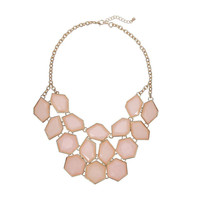 Pink Faceted Stone Bib Necklace