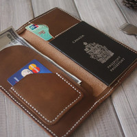 Hand stitched iPhone 6 Case, Leather Wallet, Air ticket organizer, Passport Case Sleeves, Credit card Case - CPS hand punched and stitched