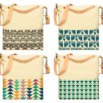 Tribal Patterns Printed Canvas Leather Strap Crossbody Messenger Bags WAS_35