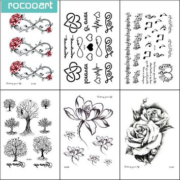 6sheets Top Quality Temporary Tattoo Sets Flower Butterfly Bird Lips Feather Arrow Tattoo Sticker Waterproof Temporary Tatoo