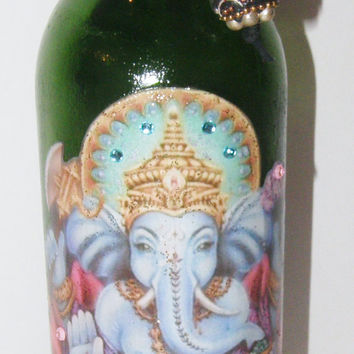 Ganesh Ganesha Smoking Bottle Incense Burner Handcrafted