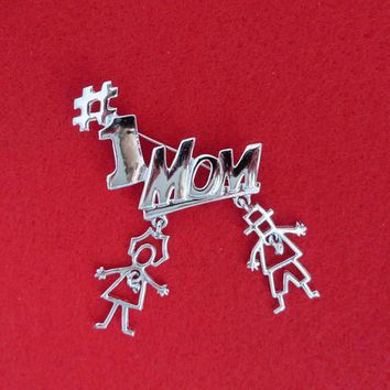 Vintage Mom Brooch - Signed AJC #1 Mom Silver Tone Pin, Dangling Kids Pin, Gift for Her, Gift Boxed