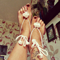 Boho Wedding Barefoot Sandals -  Gypsy Foot Jewelry -  Floral Nude Shoes - Bohemian Beach Sandals - Hippie Boho Barefoot Sandals
