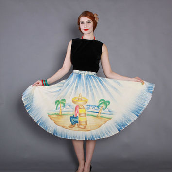 50s Mexican Circle SKIRT / 1950s Handpainted Full Skirt xs-m