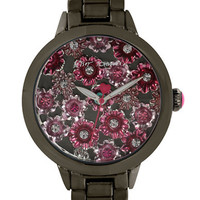 Betsey Johnson Ladies Gunmetal Tone Watch with Flower Motif Dial