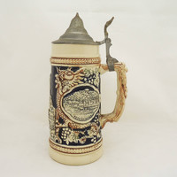 Vintage Gerz German Beer Stein, Western German Beer Tankard, Gerz Large Beer Stein, Heavy German Beer Stein