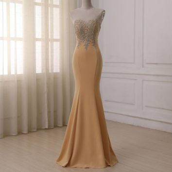 Evening Dress Gold Applique Cap Sleeve Floor Length Champagne Mermaid Formal Dresses Prom Gowns