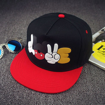 2016 Summer New Womens Cartoon Mickey Baseball Cap Adjustable Snapback Mouse Hat Hip Hop Caps Sun Hats For Men Women Casquette